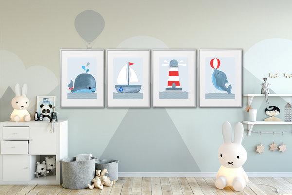 Kinderzimmer Bilder Set deko maritim Kinderzimmer Deko Junge Kinderbilder  Wal Delfin Boot Leuchtturm