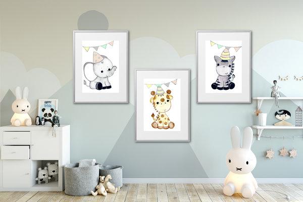 Kinderzimmer Poster Set Wildtiere Bilder Kinderzimmer Deko Junge Mädchen  Kinderbilder Dschungeltiere